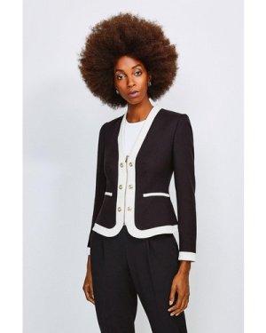 Karen Millen Zip Front Military Jacket -, Blackwhite