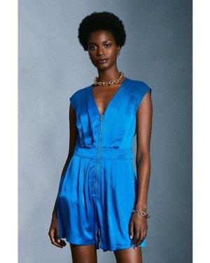 Karen Millen Luxe Silk Sand Wash Playsuit -, Blue