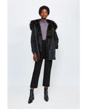 Karen Millen Faux Fur Hood and Trim Parka Coat -, Black