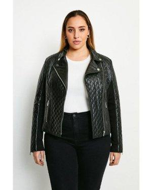 Karen Millen Curve Leather Quilted And Knit Panel Biker Jacket -, Black