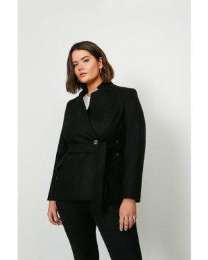 Karen Millen Curve  Notch Neck Short Coat -, Black