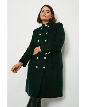 Karen Millen Curve Military Wool Coat -, Bottle Green