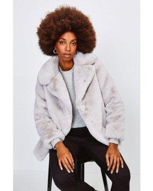 Karen Millen Wide Collar Faux Fur Jacket -, Silver Grey