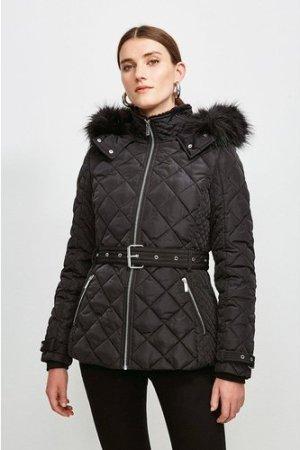 Karen Millen Short Quilted Belt Coat -, Black