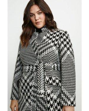 Karen Millen Curve Check  Notch Short Coat -, Black
