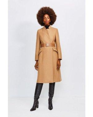 Karen Millen Hardware Belted Wool Coat -, Camel
