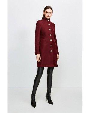 Karen Millen Multistitch Wool Blend Funnel Neck Coat -, Fig
