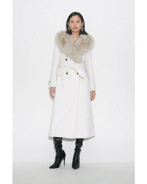 Karen Millen Black Label Faux Fur Collar Wool Belted Coat -, Ivory