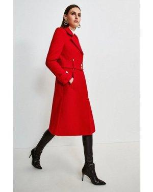 Karen Millen Minimal Military Wool Blend Coat -, Red