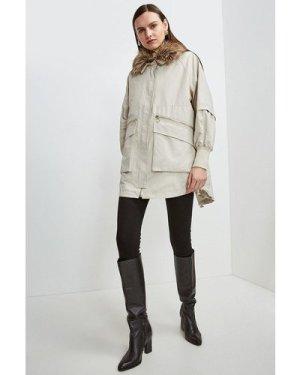 Karen Millen Multi Way Removable Faux Fur Lined Parka -, Brown
