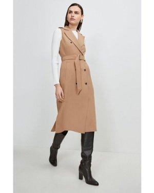 Karen Millen Compact Stretch Sleeveless Coat -, Camel