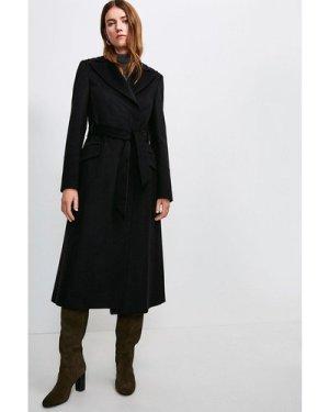 Karen Millen Italian Virgin Wool Luxe Coat -, Black