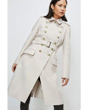 Karen Millen Italian Longline Wool Trench Coat -, Brown