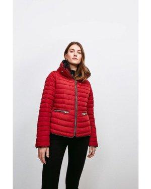 Karen Millen Faux Fur Collar Padded Jacket -, Red