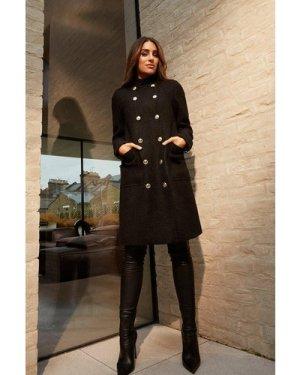 Karen Millen Boucle Military Double Breasted Coat -, Black