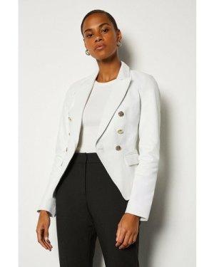 Karen Millen Leather Button Blazer -, White