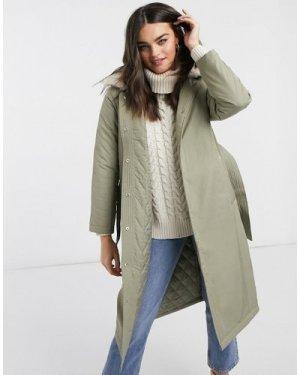 Fashion Union longline parka coat with faux fur trim and belt-Green