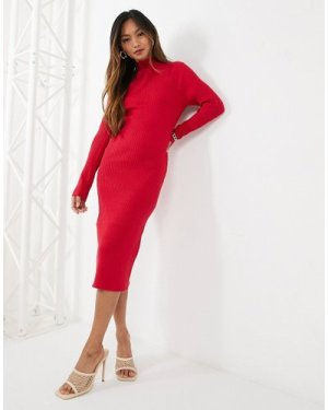 Fashion Union knitted midi dress with cut out back-Red