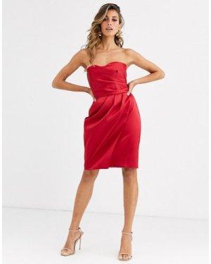 Closet bandeau strapless mini dress-Red