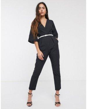 Closet printed slim leg jumpsuit-Black