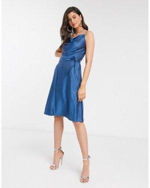Closet cowl neck satin midi slip dress in blue