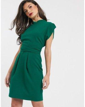 Closet London tie back mini dress in emerald green