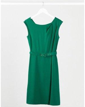 Closet wrap skirt A-line dress in green