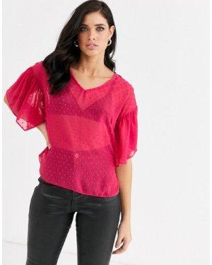 Closet v neck frill sleeve blouse-Pink