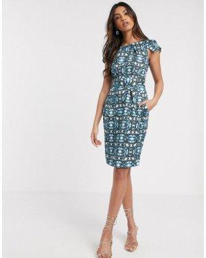 Closet London cap sleeve wiggle dress in black and blue kaleidoscope print-Multi