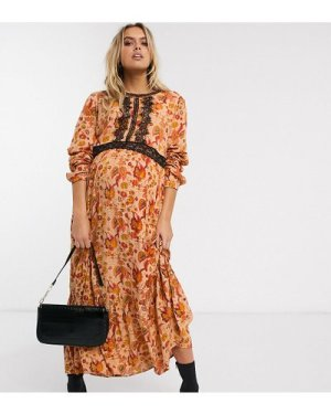 Mamalicious Maternity maxi dress with lace insert in rust paisley-Multi