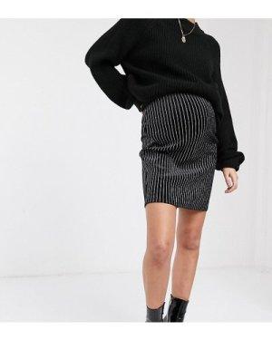 Mamalicious glittery pinstripe skirt in velvet-Black