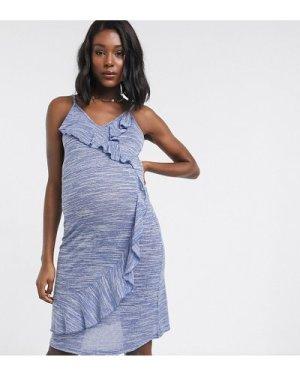 Mamalicious ruffle front dress-Blue