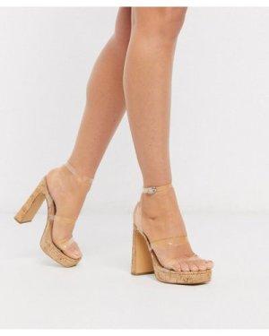 London Rebel clear strap platform heeled sandals in cork-White
