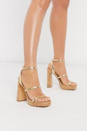 London Rebel 90's cork platform heeled sandals in gold