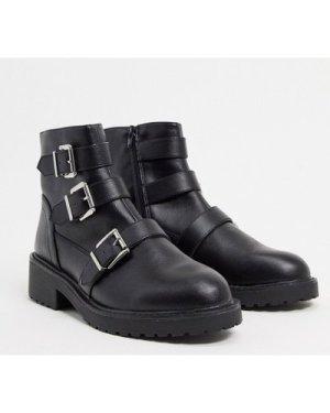 London Rebel flat buckle boots in black