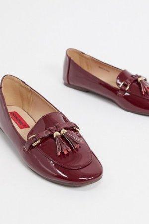 London Rebel metal trim tassel loafers in burgundy-Red