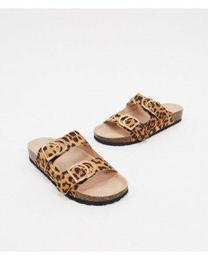 London Rebel double buckle footbed sandal in leopard-Multi