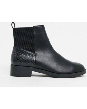 London Rebel chelsea boots in black snake