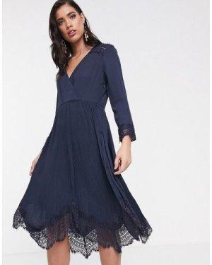 Liquorish wrap dress with pleated skirt and lace hem-Navy