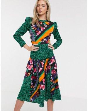 Liquorish satin midi dress in green floral print mix-Multi