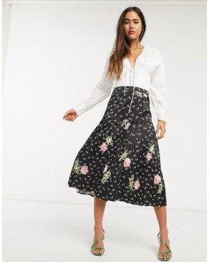 Liquorish midi skirt in pink floral-Multi