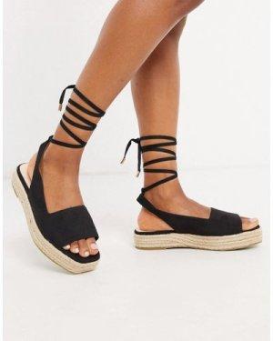 RAID Vinny straight cut espadrille sandals with ankle ties in black