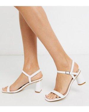 RAID Exclusive Judina square toe heeled sandals in white