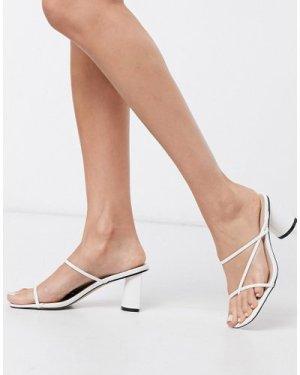 RAID Brioni super skinny strap block heel sandals in white