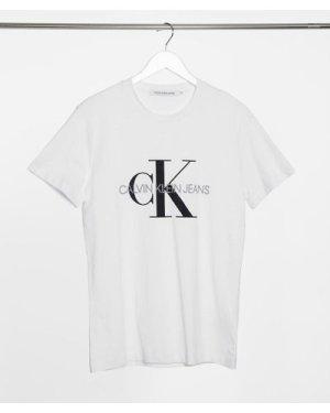 Calvin Klein Jeans iconic monogram slim t-shirt in white