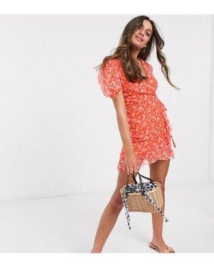 Miss Selfridge Petite wrap dress in red floral