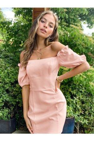 Miss Selfridge Petite off the shoulder dress in blush-Pink