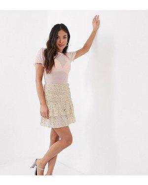 Miss Selfridge Petite ditsy print mini skirt in ivory-Cream