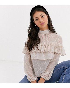 Miss Selfridge Petite tiered mesh blouse in pink-Beige