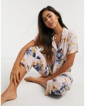 Lindex Alexandra floral printed revere pyjama top-Pink